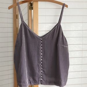 Madewell velvet tank in lavender with buttons Sz 6